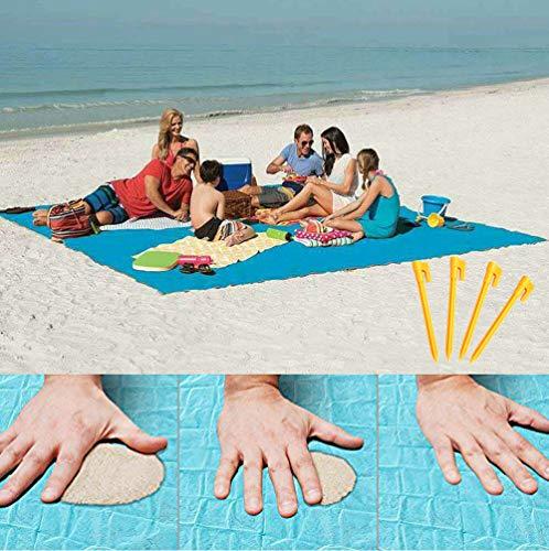 lopie Sand Proof Blanket Sand Free Lightweight Compact Large Beach Towel Mat Fast Dry Waterproof Easy Clean Ultra Portable Blanket (Blue, 79'79')