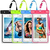 GLBSUNION Waterproof Phone Case, 4 Pack Universal Waterproof Pouch Dry Bag with Neck Strap Luminous Ornament for Water Games for iPhone 11 Pro XS XR MAX 8 7 Plus Galaxy S10 S9 Edge Note Google Pixel