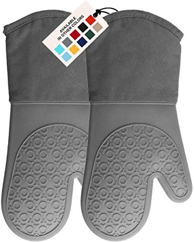 HOMWE Extra Long Professional Silicone Oven Mitt, Oven Mitts with Quilted Liner, Heat Resistant Pot Holders, Flexible Oven Gloves, Gray, 1 Pair, 13.7 Inch
