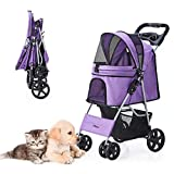 HRKIM Pet Stroller, Cat Dog Stroller for Medium Small Dog with Storage Basket Foldable Lightweight Dog Carrier Trolley