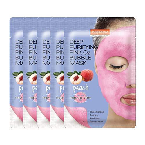 PUREDERM Deep Purifying Pink O2 Bubble Mask 0.88oz x 5ea / Korean beauty/Bubble mask/Cleansing foam/Cleanser/Purifying mask/Peach/Nourishing/Sebum control/Face toxin