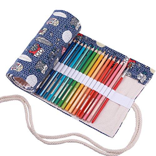 amoyie Sacchetto della Matita Rotolo Astuccio per 36 Matite Colorate Tela Organizer Borsa (no inclusa matite)