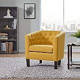 BELLEZE Elegant Berlinda Upholstered Tufted Barrel Chair Roll Armrest Accent Club Chair Living Room, Wooden Legs, Linen, Yellow