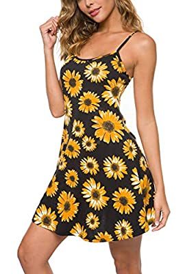 ❀Stretchy breathable fabric with great touch.Super soft and comfortable. ❀Good elasticity,highly smooth,adjustable spaghetti strap ❀Round neck swing dress,adjustable spaghetti strap, body shaping control slip show your amazing figure ❀Perfect for Cas...