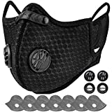AstroAI Face Mask Reusable Dust Mask with Filters - Adjustable for Woodworking, Construction, Outdoor (Black, 1 Mask + 6 Extra Activated Carbon Filters Included)