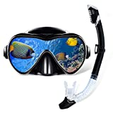 Gugusure Dry Snorkel Set, Snorkeling Gear with Anti Fog and Anti Leak Tempered Glass, Panoramic Wide View and Easy Breathing for Scuba Diving and Swimming, Ideal Snorkel mask for Adults, Youth, Women