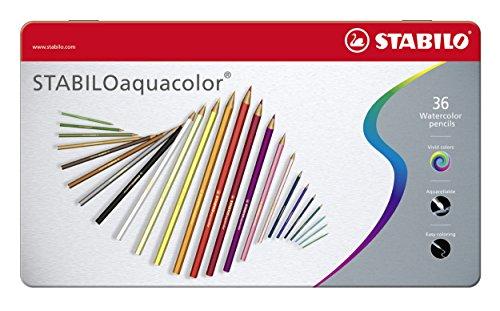 Matita colorata acquarellabile - STABILOaquacolor - Scatola in Metallo da 36 - Colori assortiti