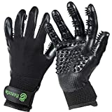 Handson Pet Grooming Gloves - Patented, Award Winning Shedding, Bathing, & Hair Remover Gloves - Gentle Brush for Cats, Dogs, and Horses (Black, Medium)