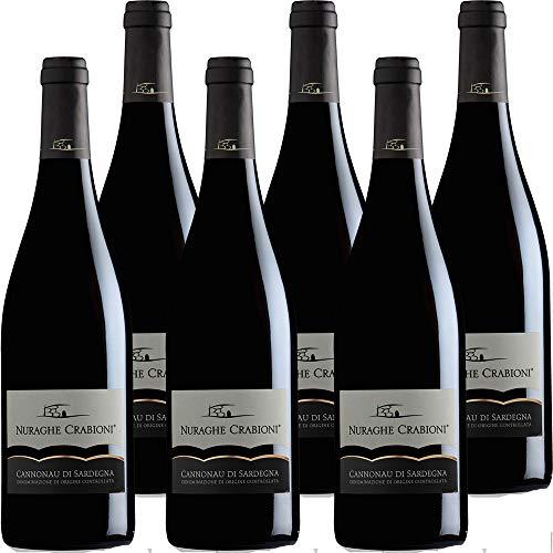 Cannonau di Sardegna   Nuraghe Crabioni   Confezione da 6 Bottiglie da 75 Cl   Vino Rosso di Sardegna   Idea Regalo