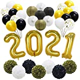Gold 2021 Graduation Balloons Decorations, New Year's Eve Party Supplies, Latex Balloons, Hanging Tissue Paper Fans, Paper Lanterns, Pom Poms Flowers for Birthday Prom Anniversary Back to School Decor