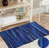 100% Cotton Rag Rug 3x5' Multicolor Chindi Rug - Hand Woven & Reversible for Living Room Kitchen Entryway Rug - Navy,Kitchen Rugs, Farmhouse Rugs, Rugs for Living & Bedroom,Woven Rugs