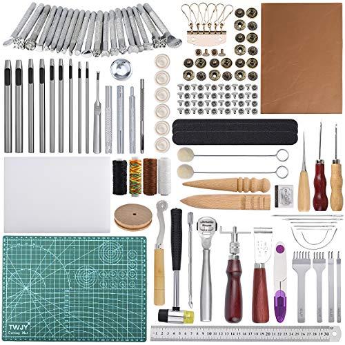 Kit di strumenti per artigianato in pelle 110 pezzi Strumenti di lavoro in cuoio Strumenti per...