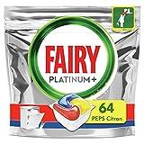 Fairy Platinum+ Pastilles Lave-Vaisselle Peps Citron Défie les taches les plus coriaces, 64 Doses