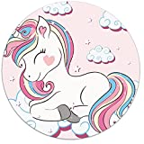 Britimes Round Mouse Pad, Cute Colorful Unicorn for Kid Premium-Textured Mouse Mat, Small Non-Slip Rubber Base Round Mousepad with Designs for Working and Gaming
