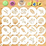 Konsait 20 Pack Cake Stencil Templates Decoration, Reusable Cake Cookies Baking Painting Journal Mold Tools, Dessert, Coffee Decorating Leaves Butterfly Flowers Bird Dragonfly for DIY Craft Decor