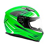 Typhoon Full Face Motorcycle Helmet w/drop down sun shield DOT Certified - SAME DAY SHIPPING (Matte Green, Adult X Large)
