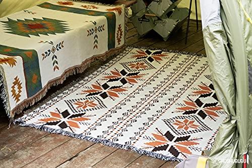 Peel Forest 50' X60 Arancione Acero Marocchino Design Azteco Coperta Tribale Navajo Vanlife Divano Divano tappeti Etnico Rustico Diamante Campeggio Bohemien Getta Coperta