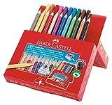 Faber-Castell Paquete de regalo, 12 lápices de colores Jumbo Grip + 10 rotuladores Grip Colour Marker – Sacapuntas en caja de alta calidad, varios colores