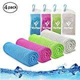 Cooling Towel,Vofler 4 Pack Cool Towels Microfiber Chilly Ice Cold Head Band Bandana Neck Wrap (40'x 12') for Athletes Men Women Youth Kids Dogs Yoga Outdoor Golf Running Hiking Sports Camping Travel