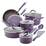 Rachael Ray Cucina Nonstick Cookware Pots and Pans Set, 12 Piece, Lavender