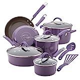 Rachael Ray 16783 Cucina Nonstick Cookware Pots and Pans Set, 12 Piece, Lavender