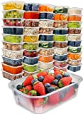 Food Storage Containers with Lids - Food Containers Meal Prep Plastic Containers with Lids Food Prep Containers Deli Containers with Lids Freezer Containers by Prep Naturals, 25 Ounce, 50 Pack