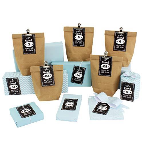 Calendario de Adviento DIY para rellenar, 12 bolsas de regalo, 12 hojas de papel de regalo, 24 tarjetas de visita con números y pinzas de metal, 24 motivos, para manualidades y embalar, Navidad