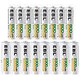 EBL 16pcs Kit AA et AAA Piles Rechargeables avec 8X AA 2300mAh et 8X AAA...
