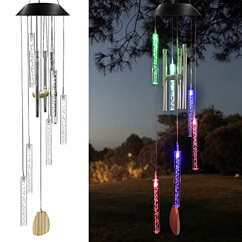 Eleven Direction Solar Wind Chimes Bubble Stick Ornament,Gifts for Mom,Birthday Gift for Grandma Women,Outdoor Color Changing Waterproof Mobile Decorative String Lights Decorations for Garden Yard