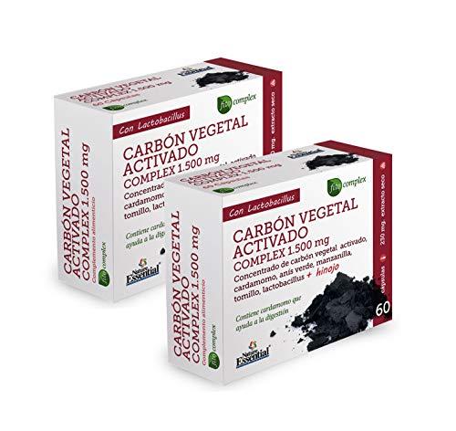 Nature Essential   Carbón vegetal activado (complex) 1500 mg   Extracto Seco 60 Cápsulas (Pack 2 unid.)