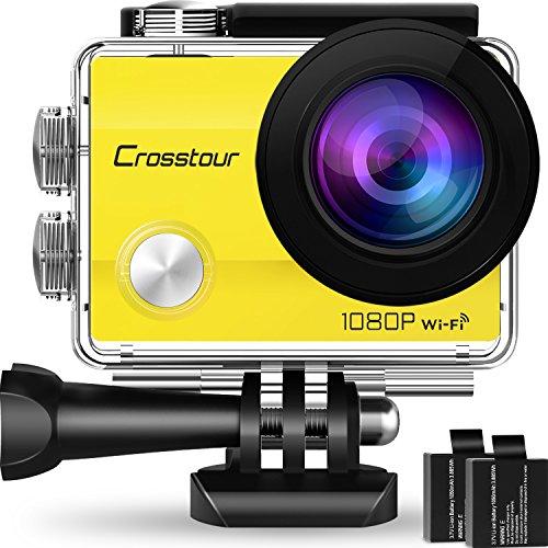 Crosstour Action Cam Impermeabile WiFi Full HD 1080P 12MP Sports Cam 2 Pollici LCD 2 Batterie Ricaricabili 1050mAh 170°Grandangolare e Kit Accessori per Ciclismo Nuoto e Altri Sport Esterni (Giallo)