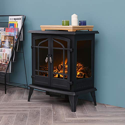 Festival Depot 25'Freestanding Electric Fireplace 1400W Realistic Log Flame Stove Portable Space Heater Adjust thermostat Control Office Home Bed Livingroom Apartment Use Steel OverheatProtect(25inch)