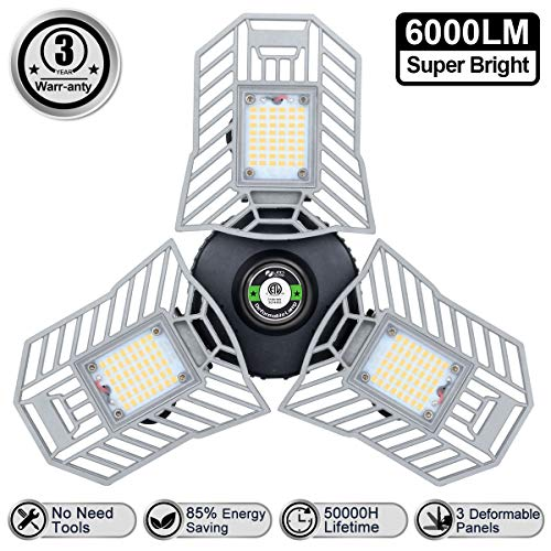 LED Garage Lights 6000 Lm Flexed LED Beyond Bright Garage Light 60W Three Leaf Garage Light...