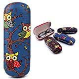 Hacloser Glasses Box Owl Animal Cartoon Pattern Hard Glasses Sunglasses Storage Protector Portable Cases (Blue)