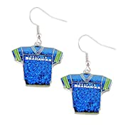 Product: Glitter Jersey Dangle Earring. Size: 3/4 inch round. Gender: Stainless Steel Hook. Brand: Officially Licensed & Package. Great Accessory to wear on a game day.