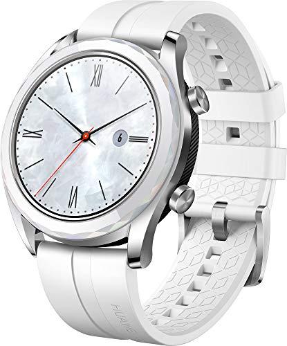 Huawei Watch GT Elegant Smartwatch (42 mm Amoled Touchscreen, GPS, Fitness Tracker, Herzfrequenzmessung, 5 ATM wasserdicht) weiß