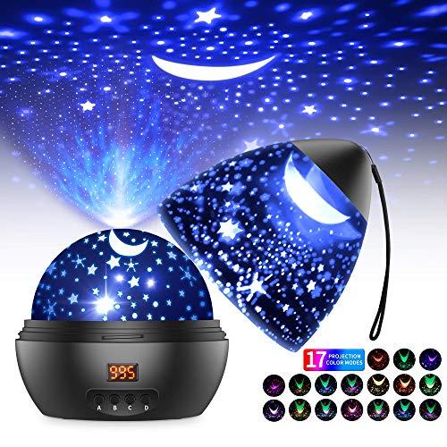 Proiettore Stelle Soffitto Romantica Luce Notturna del Cielo Stellato con Timer, 17 Modalit Colore di Proiezione, 360 Rotazione Lampada da Comodino Camera da Letto, Regalo per Bambini Neonati-Nero