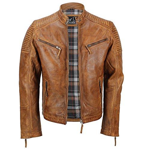 Cazadora de piel auténtica para hombre, encerada, estilo motero, aspecto retro, con cremallera Marrón canela XXX-Large