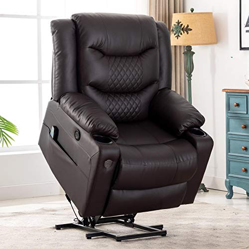 EVER ADVANCED Lift Chair Recliner, Electric Recliners for Elderly Living Room Chair with Heating Vibration Massage, Remote Control, USB Port, Cup Holder & Size Pocket for Home
