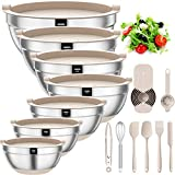 Mixing Bowls with Airtight Lids, 20 piece Stainless Steel Metal Nesting Bowls, AIKKIL Non-Slip Silicone Bottom, Size 7, 3.5, 2.5, 2.0,1.5, 1,0.67QT Great for Mixing, Baking, Serving (Khaki)