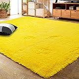 LOCHAS Ultra Soft Indoor Modern Area Rugs Fluffy Living Room Carpets for Children Bedroom Home Decor Nursery Rug Girls 5.3x7.5 Feet, Yellow