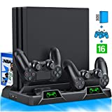 PS4 Stand Cooling Fan for PS4 Slim / PS4 Pro/Playstation 4, PS4 Pro Stand Vertical Stand Cooler with Dual Controller Charge Station & 16 Game Storage