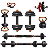 Adjustable Weights Dumbbells Set, 20 Lb Dumbbells Set of 2 Adjustable Dumbbells Barbell Kettlebells Push Up Stand for Home Gym Work Out Fitness Equipment Exercise