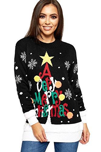 WearAll Mujer Punto Feliz Navidad Manga Larga Árbol Navidad Mujer Pompón Jersey 8-24 - Negro, 8-10