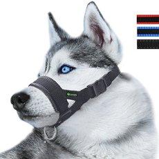 RockPet Museruola per cane in nylon, contro morsi e abbaio, con anello regolabile (L,Nero)