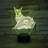 Luz de Noche Fox Light con lámpara de Escritorio táctil como Regalo para Que los niños cambien el Color de la decoración de la reunión Familiar o la Caja de la batería