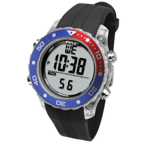 Pyle Schnorchel und Tauch Multifunktions Wassersport-Uhr mit Tauchmodus Chronograph Tauchtiefe, Schwarz, PSNKW30BK