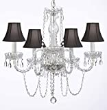 Murano Venetian Style All-Crystal Chandelier with Black Shades H25' W24'