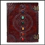 Journal en cuir avec pierre médiévale gravée faite à la main Livre d'ombres...