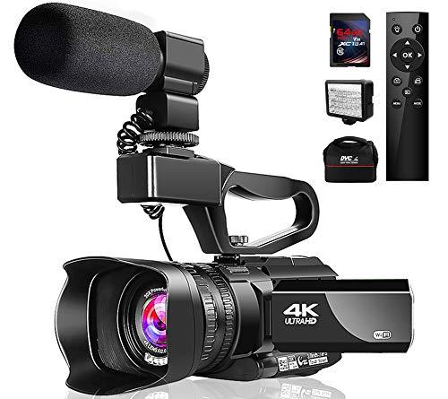 Caméscope Portable 4K 48MPVlog avec Microphone Vision Nocturne Infrarouge WiFi Écran Tactile 3'Caméscope Portable Vidéo avec Zoom Numérique 30x avec Couvercle